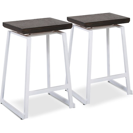 Ace Set of 2 Counter-Height Stools - White