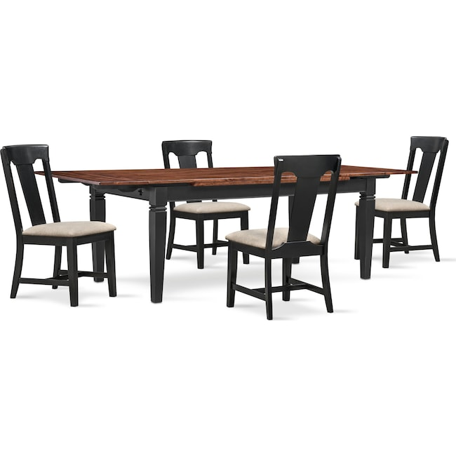Dining Room Furniture - Adler Dining Table and 4 Dining Chairs