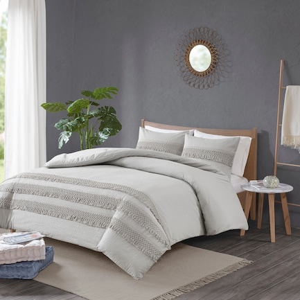 Alden Full/Queen Comforter Set - Gray