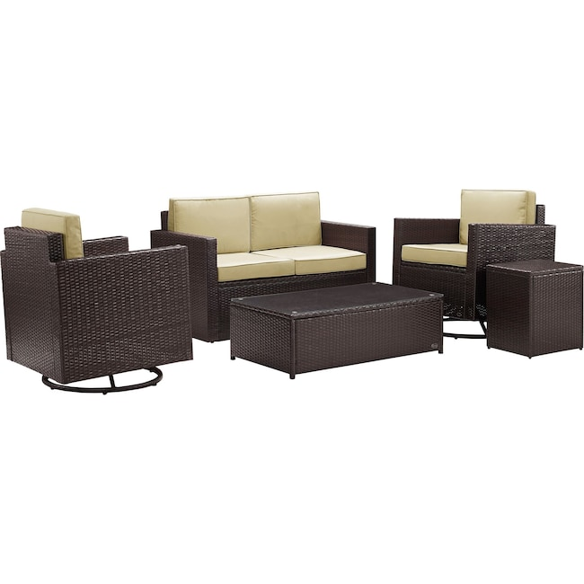Outdoor Furniture - Aldo Outdoor Loveseat, Set of 2 Swivel Chairs, Coffee Table and End Table