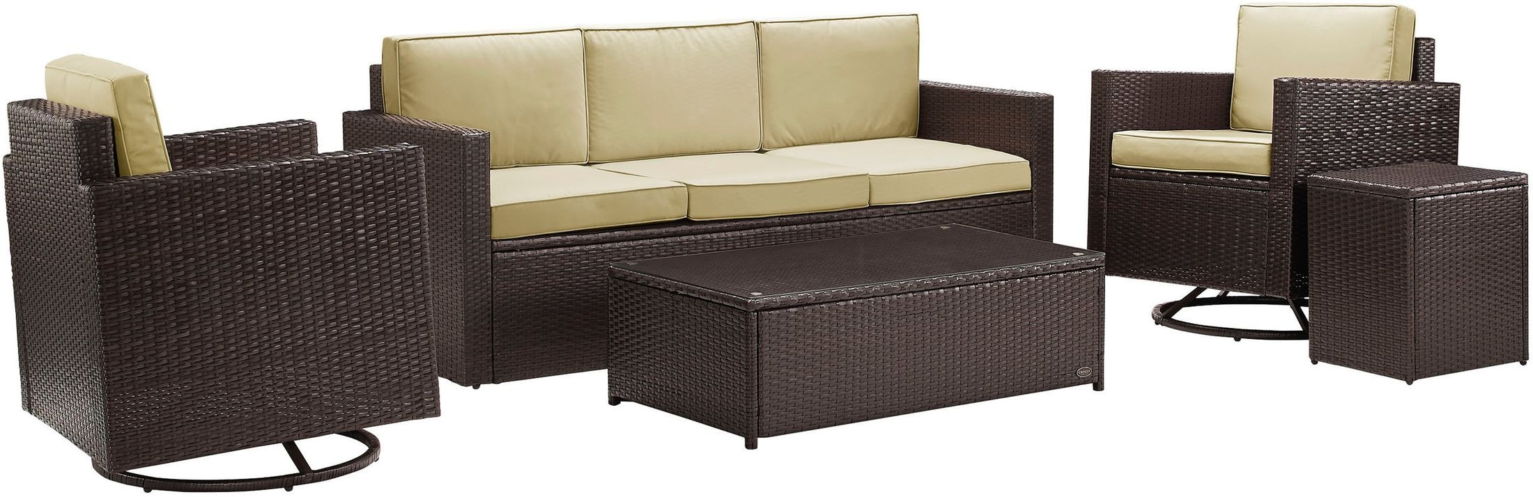 Outdoor Furniture - Aldo Outdoor Sofa, Set of 2 Swivel Chairs, Coffee Table and End Table