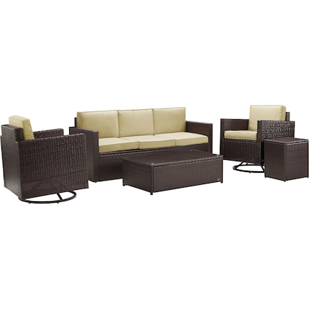 Aldo Outdoor Sofa, Set of 2 Swivel Chairs, Coffee Table and End Table