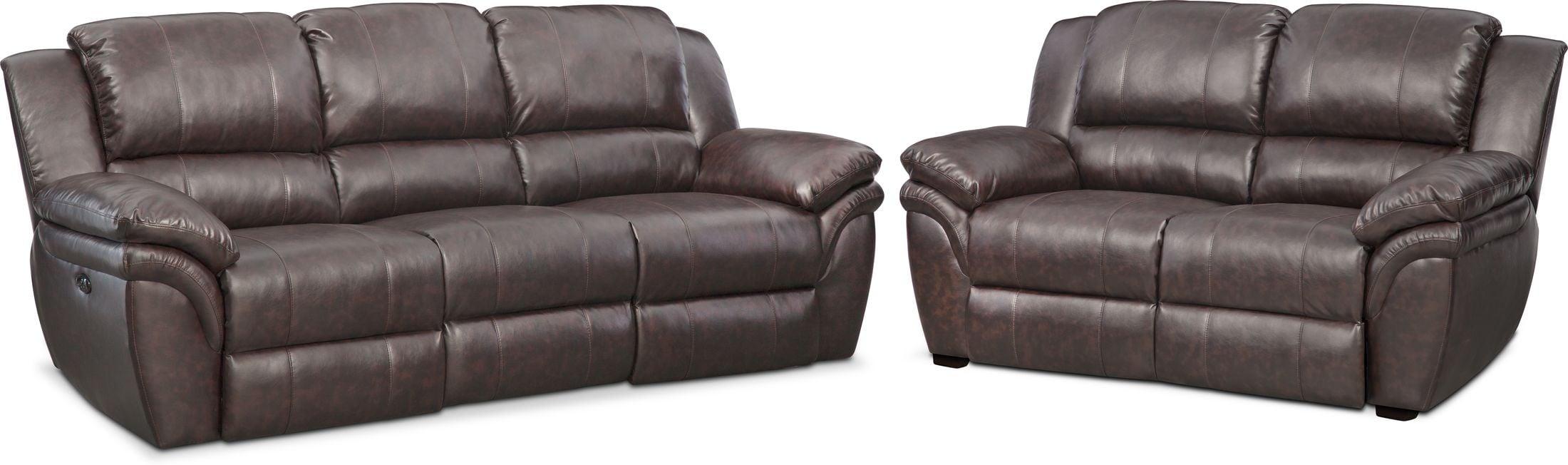 Living Room Furniture - Aldo Power Reclining Sofa and Stationary Loveseat Set