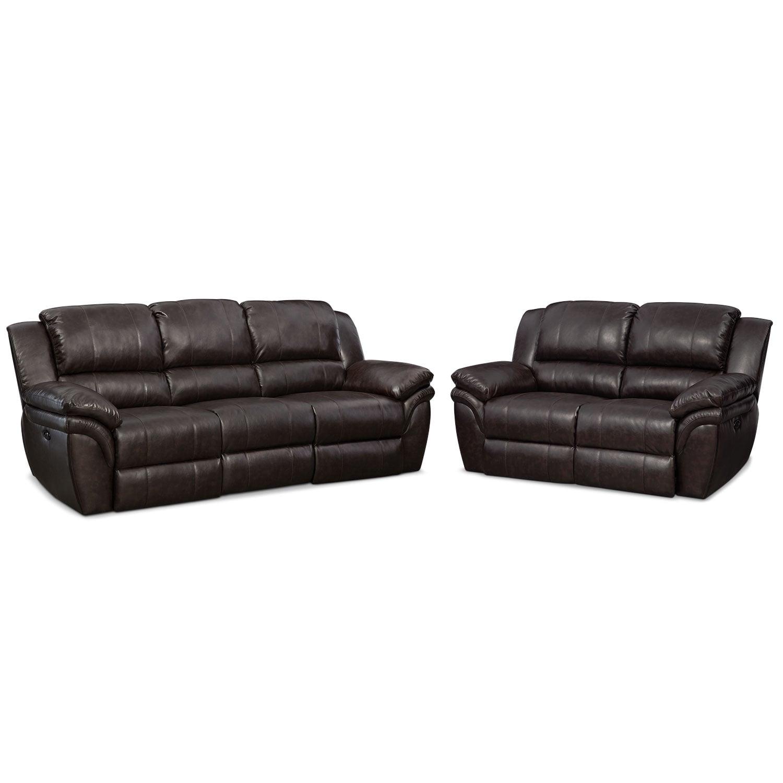 Living Room Furniture - Aldo Power Reclining Sofa and Loveseat Set
