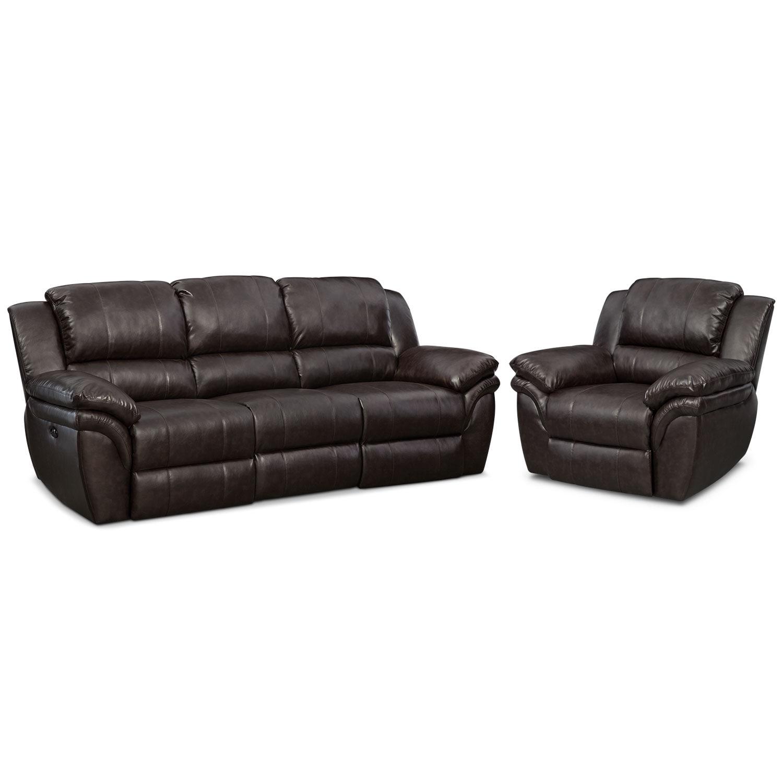 Living Room Furniture - Aldo Power Reclining Sofa and Recliner Set