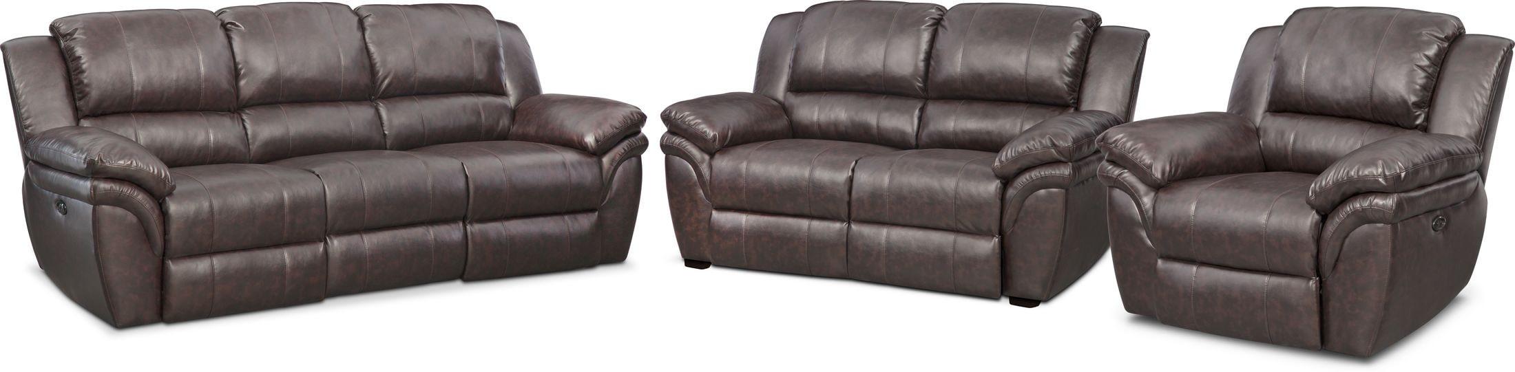 Living Room Furniture - Aldo Power Reclining Sofa, Power Recliner, and Stationary Loveseat
