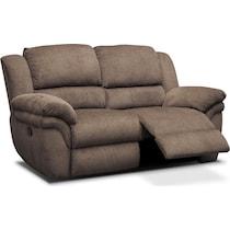 aldo dark brown manual reclining loveseat