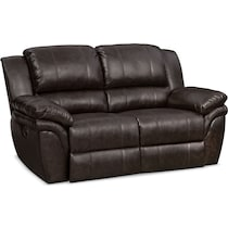 aldo dark brown manual reclining loveseat