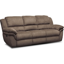 aldo dark brown manual reclining sofa
