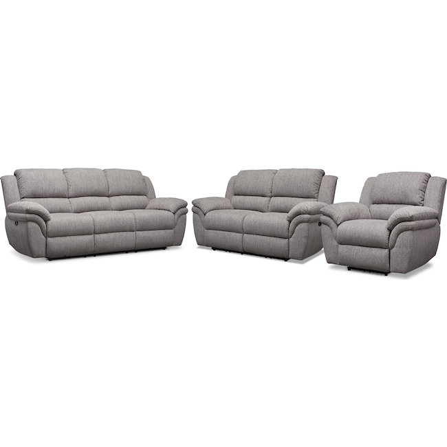 Living Room Furniture - Aldo Power Reclining Sofa, Loveseat and Recliner