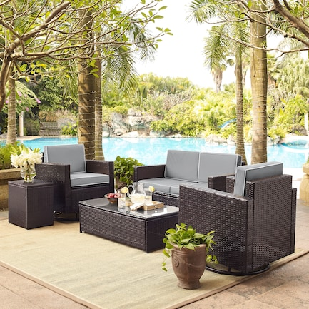 Aldo Outdoor Loveseat, 2 Swivel Chairs, Coffee Table, and End Table Set