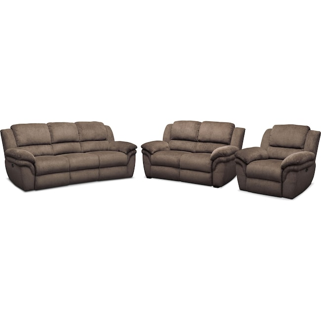 Living Room Furniture - Aldo Power Reclining Sofa, Power Recliner and Stationary Loveseat