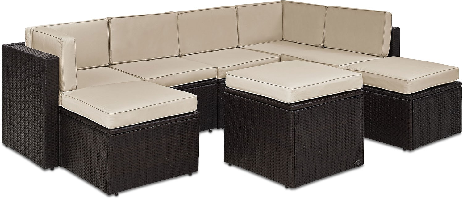 Outdoor Furniture - Aldo 7-Piece Outdoor Sectional and Ottoman Set