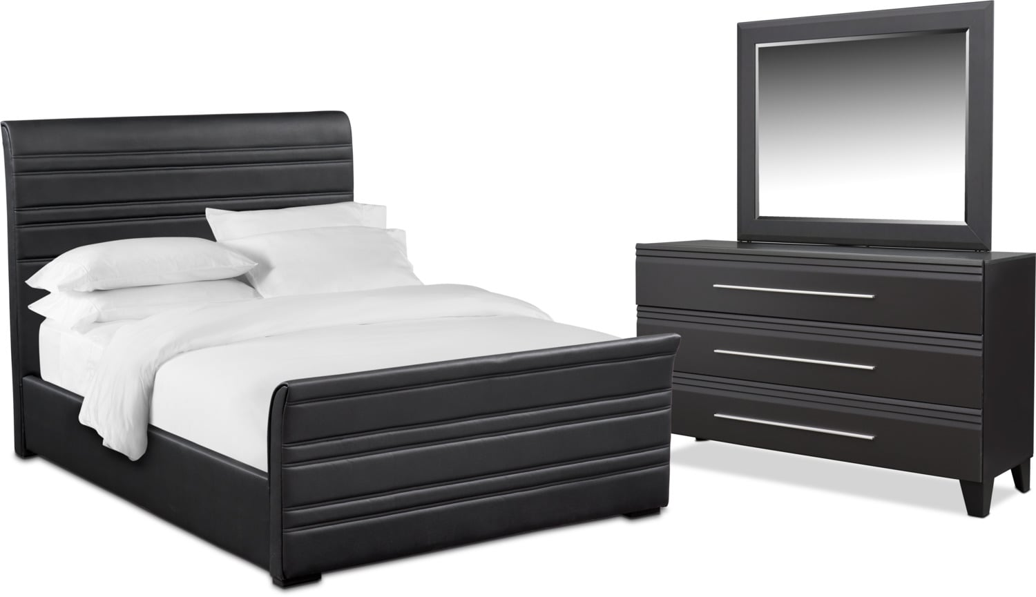 Bedroom Furniture - Allori 5-Piece Upholstered Bedroom Set with Dresser and Mirror