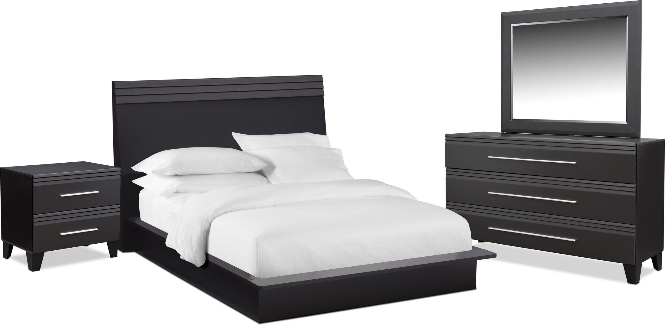 Bedroom Furniture - Allori 6-Piece Panel Bedroom Set with Nightstand, Dresser and Mirror