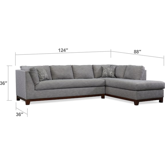 Living Room Furniture - Anderson 2-Piece Sectional with Chaise + FREE OTTOMAN