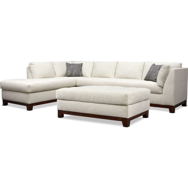 Living Room Furniture - Anderson 2-Piece Sectional with Chaise and Ottoman