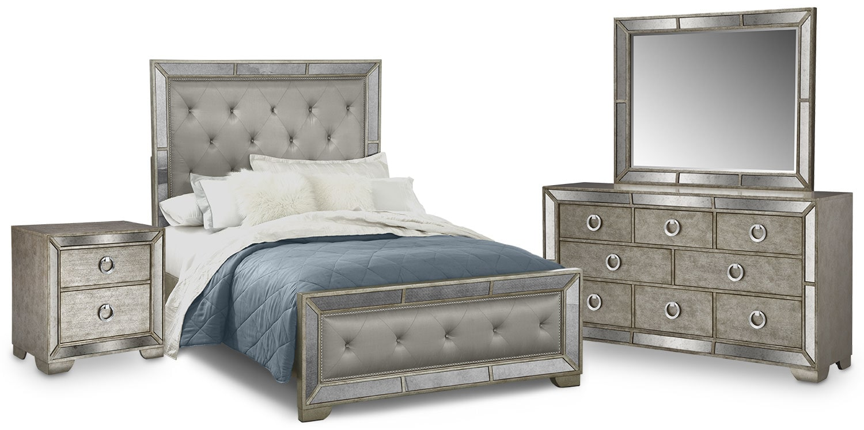 Bedroom Furniture - Angelina 6-Piece Upholstered Bedroom Set with Nightstand, Dresser and Mirror