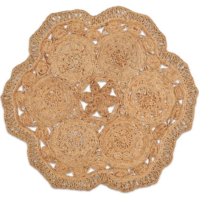 Rugs - Angell Round Area Rug - Natural