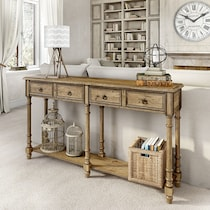arlayna light brown console table