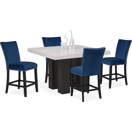Artemis Counter-Height Marble Dining Table and 4 Upholstered Stools - Blue