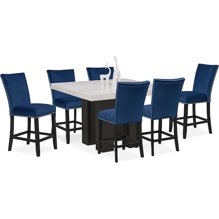 Artemis Counter-Height Marble Dining Table and 6 Upholstered Stools - Blue