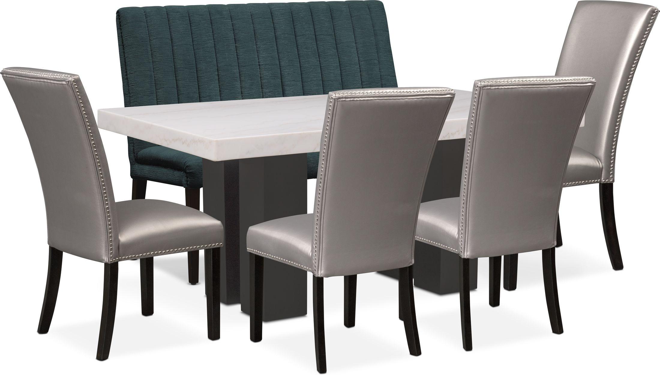 Dining Room Furniture - Artemis Marble Dining Table, 4 Upholstered Dining Chairs, and Bench - Gray/Teal