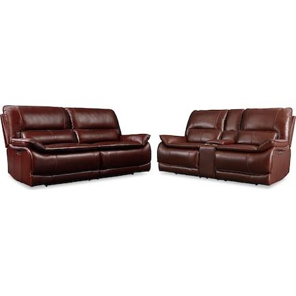 Aston Dual-Power Reclining Sofa and Loveseat Set - Brown
