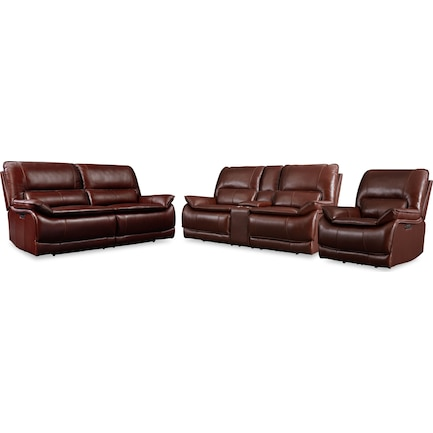 Aston Dual-Power Reclining Sofa, Loveseat and Recliner- Brown