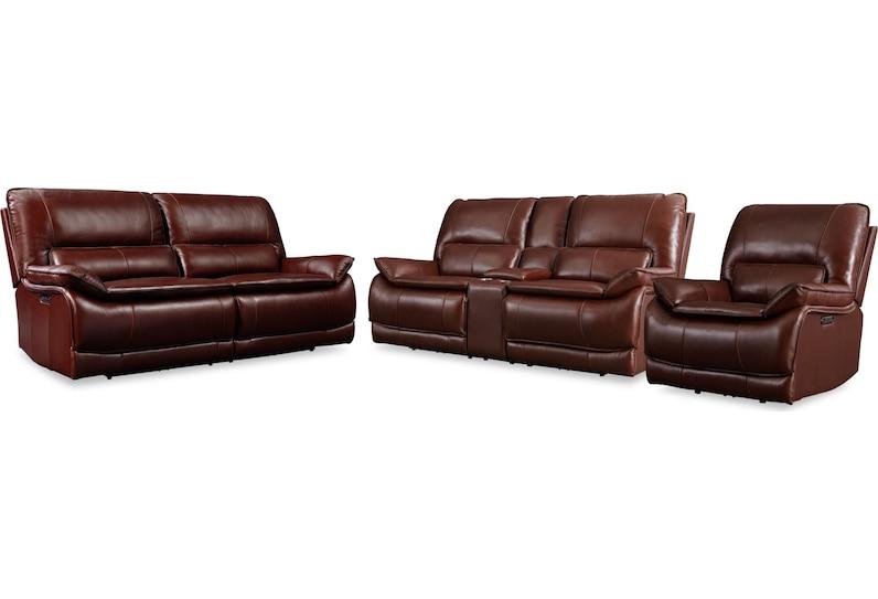 aston dark brown  pc power reclining living room