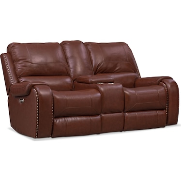 Austin Dual-Power Reclining Loveseat - Brown