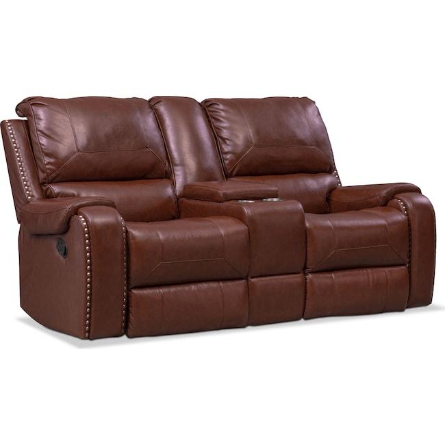 Living Room Furniture - Austin Manual Reclining Loveseat