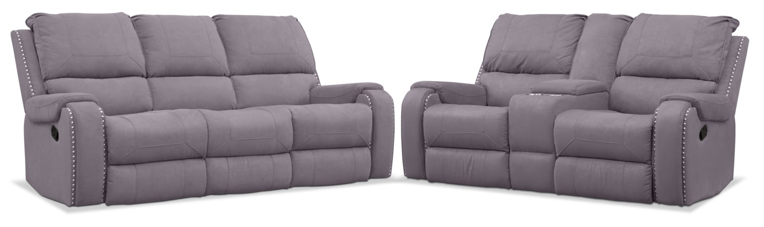 Living Room Furniture - Austin Manual Reclining Sofa and Loveseat Set