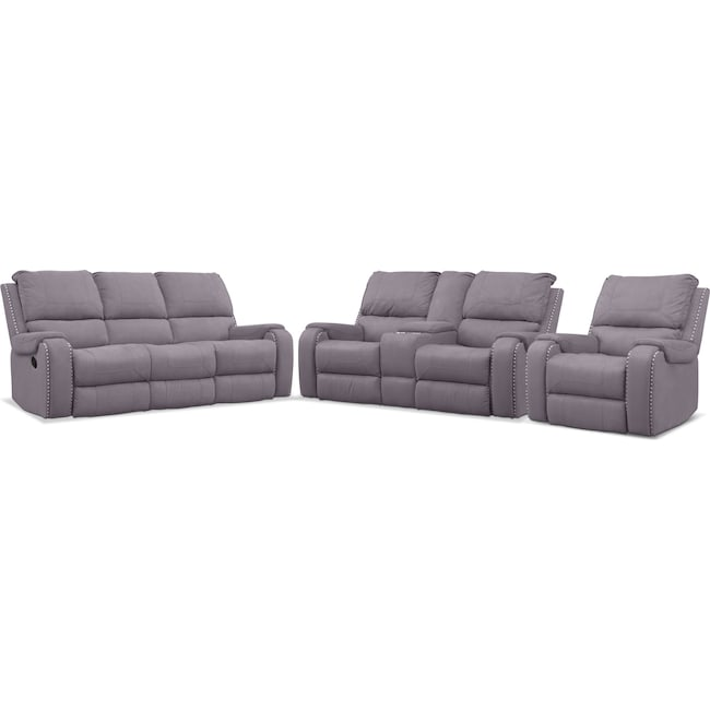 Living Room Furniture - Austin Manual Reclining Sofa, Loveseat and Recliner