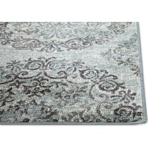beige and light blue area rug ' x '