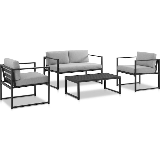 Outdoor Furniture - Belmar Outdoor Loveseat, 2 Chairs and Coffee Table Set