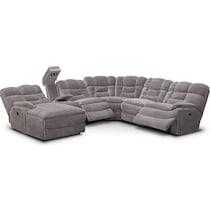 big softie ii gray power reclining sectional