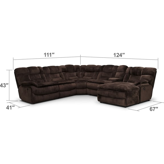Living Room Furniture - Big Softie 6-Piece Power Reclining Sectional with Chaise and 2 Reclining Seats