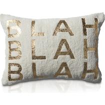 blah blah blah white accent pillow