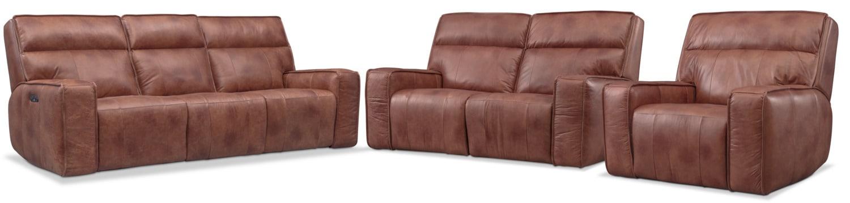Living Room Furniture - Bradley Triple-Power Reclining Sofa, Loveseat and Recliner
