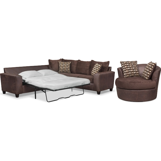 Living Room Furniture - Brando 3-Piece Queen Sleeper Sectional and Swivel Chair Set