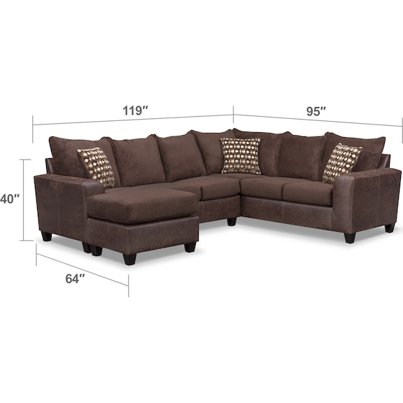 Living Room Furniture - Brando 3-Piece Sectional with Chaise and Swivel Chair Set