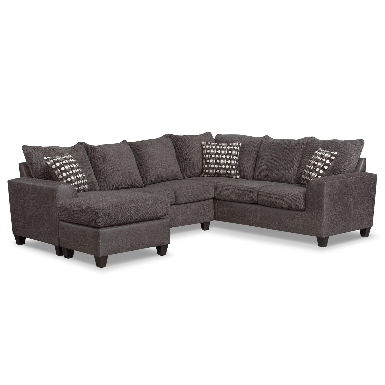 Living Room Furniture - Brando 3-Piece Queen Sleeper Sectional