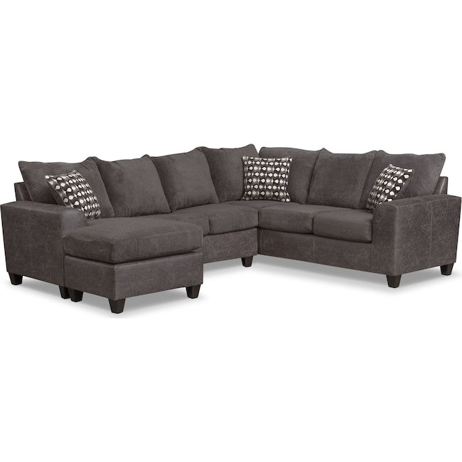 Living Room Furniture - Brando 3-Piece Sectional with Modular Chaise