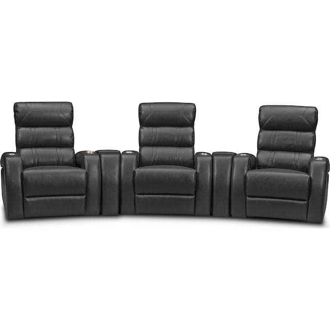 Living Room Furniture - Bravo 5-Piece Power Reclining Home Theater Sectional with 3 Reclining Seats