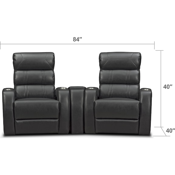 Living Room Furniture - Bravo 3-Piece Power Reclining Home Theater Sectional with 2 Reclining Seats