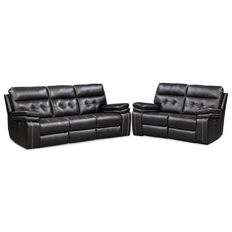 Living Room Furniture - Brisco Manual Reclining Sofa and Loveseat Set
