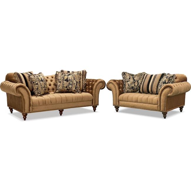 Living Room Furniture - Brittney Sofa and Loveseat Set