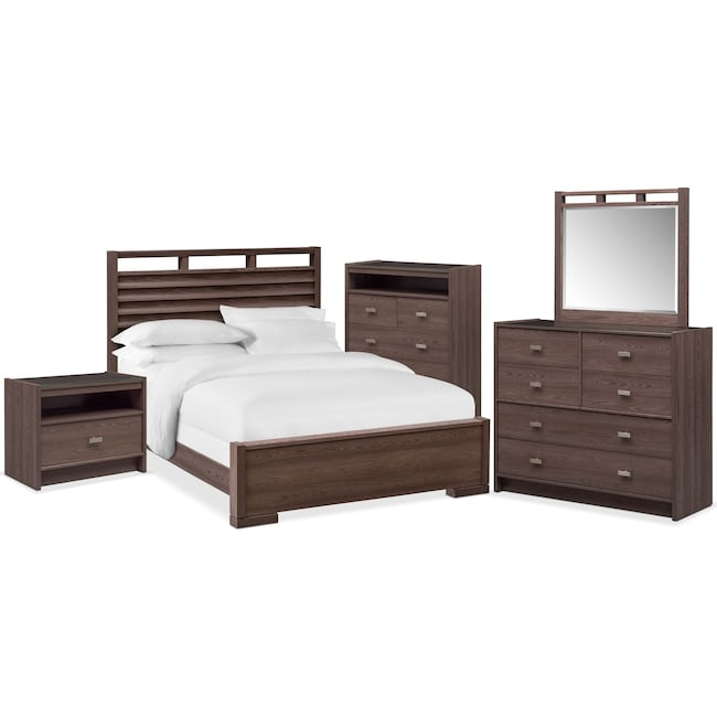 Bedroom Furniture - Britto 7-Piece Slat Bedroom Set with Nightstand, Chest, Dresser and Mirror