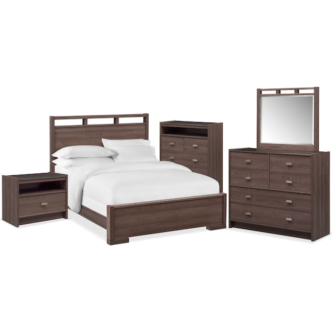 Bedroom Furniture - Britto 7-Piece Bedroom Set with Nightstand, Chest, Dresser and Mirror